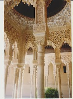 Detail of arabesques at Alhambra, Spain.