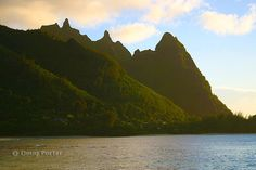 "Mount Makana or ""Bali Ha`i"" on Kauai;  this is the view from Tunnels beach"