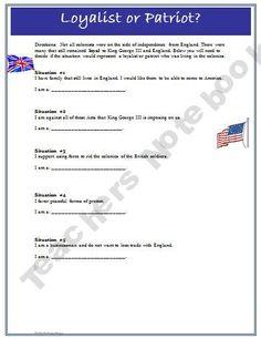 American Revolution Loyalist vs. Patriot Worksheet and Key