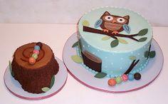 Owl and grub woodland cake