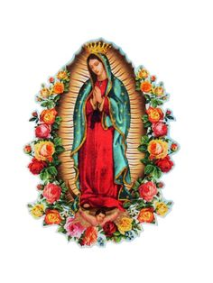 Guadalupe - Iron on Patch - Tattoo - Rockabilly - Mexican - Folk Art - Religious - Rose - Mary - Pat