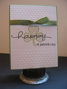 White embossed dots and green dotted ribbon are sweet embellishments for this cute handmade St Patricks card. St Patricks Day Cards, Happy St Patricks Day, Saint Patricks, Embossed Cards, Stampin Up Cards, Cricut Cards, Card Maker, Greeting Cards Handmade, Homemade Cards