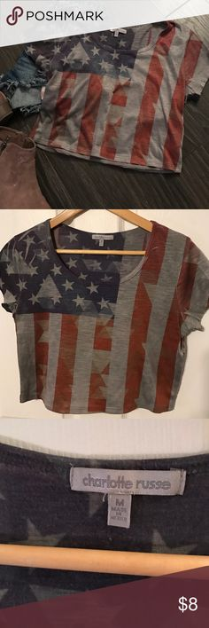 Charlotte Russe American flag crop top, medium Charlotte Russe American flag crop top, medium. I think my daughter may have worn it once, if ever! Charlotte Russe Tops Crop Tops