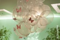 Cute idea for balloons! Butterfly Garden Party, Butterfly Birthday Party, Butterfly Baby Shower, Baby Birthday, 1st Birthday Parties, Birthday Ideas, Baby Shower Themes, Baby Shower Decorations, Birthday Decorations