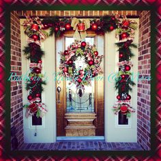 My 2014 Christmas reindeer plaid pine wreath and christmas drum and ribbon pine garland for my home decor for my front porch door