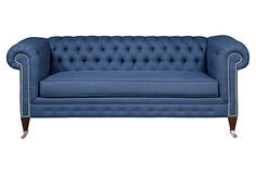 "Chuck 82"" Chesterfield Sofa, Navy on OneKingsLane.com Made of sustainably forested kiln-dried maple--a hardwood so durable it's often used for bowling-alley floors--and upholstered in linen, this chesterfield sofa will be a beautiful addition to any space. Features include heavy-gauge spring coils crafted from recycled metal that are eight-way hand-tied and nailed to the frame for superior durability. Handcrafted in the USA."