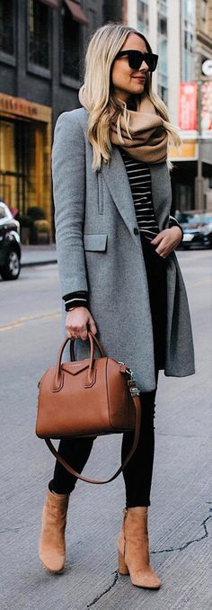Grey coat, black jeans tan boots, tan bag, striped tee, tan scarf