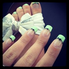 Bow Nail Design. Would want it as a French manicure with just the bow done on my ring finger