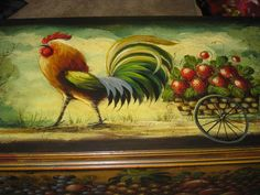 We just added this piece to our collection. Primitive Painting, Tole Painting, Paintings I Love, Beautiful Paintings, Awesome Paintings, John Dunn, Rooster Art, Chickens And Roosters, Naive Art