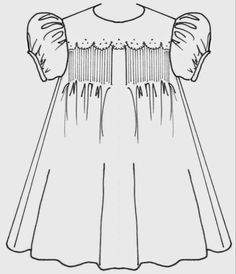 Once you have mastered the Basic Smocked Yoke Dress you might want to try making a variation - just to keep things interesting. Toddler Sewing Patterns, Baby Clothes Patterns, Girl Dress Patterns, Vintage Dress Patterns, Coat Patterns, Baby Sewing, Baby Patterns, Skirt Patterns, Blouse Patterns