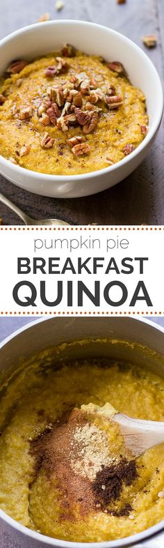Pumpkin Pie Breakfast Quinoa -- made in just 90 seconds using quinoa flakes and pumpkin puree