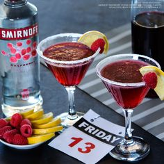 FRIDAY THE THIRTINI. Test your luck with a Friday the Thirtini. It's best enjoyed with a #blackcat, under a #ladder holding an open #umbrella. #Fridaythe13th #FF #Friday   Just mix 1.25 oz Smirnoff Raspberry, 1.5 oz pomegranate juice, a dash of orange liqueur, and enjoy!