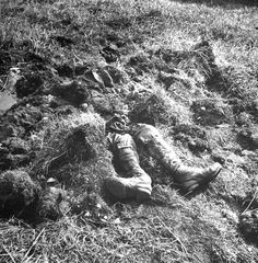 This photo Not published in LIFE. The remains of a Japanese soldier, Aleutian Islands Campaign, after a direct shell explosion.