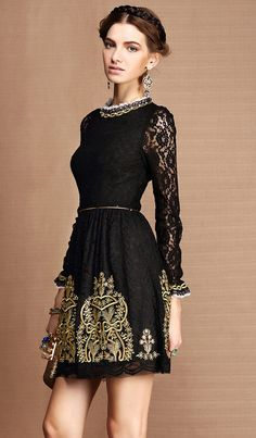 Baroque royal gold embroidery & lace dress  folk by laPupaHuman, $129.00