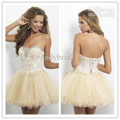 Wholesale Homecoming Dresses - Buy - 2014 Sweetheart Ball Gown Champagne Short/Mini Prom Dresses Lace Applique Beaded Homecoming Dress $104.0 | DHgate