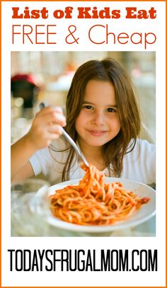 Kids Eat Free & Cheap National Listings :: Want to lighten the load of your budget for outings? Come see a list of some of the most popular national kids eat free & cheap programs! :: Today's Frugal Mom