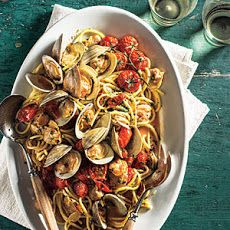 Spaghetti with Clams and Slow-Roasted Cherry Tomatoes Recipe