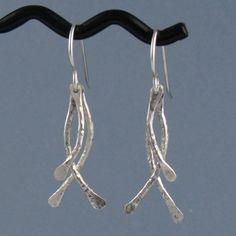 Sticks Sterling Silver Earrings, Handmade. $35.00, via Etsy.