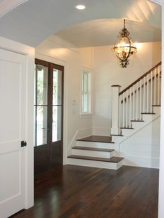Dark wood floor...This may be my next home project.  If I'm stuck here, might as well make it what I want!