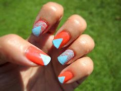 For Day I chose an orange that matched my skin tone and paired it with a summery light blue. I used a geometric design (using st. Orange Nails, Day, Beauty, Orange Nail