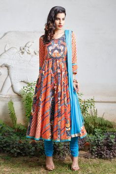 Biba Aqua Blue Embroidered Kurta Palazzo With Dupatta