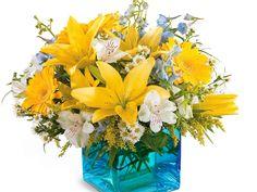 ブーケ、アルストロメリア、ガーベラ、ユリ、黄色、花