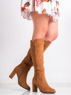Semišové hnedé čižmy Knee Boots, Shoes, Fashion, Moda, Zapatos, Shoes Outlet, Fashion Styles, Knee Boot, Shoe