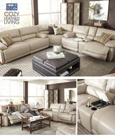 picture of Cindy Crawford Home Auburn Hills Taupe Leather 3 Pc ...