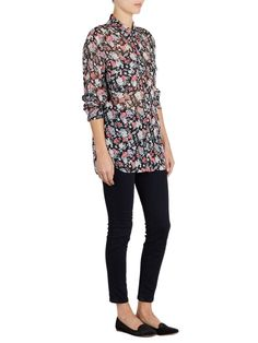 $245 EQUIPMENT FEMME Signature FLORAL Dark Bloom Multi TOP Button POCKET Blouse #EquipmentFemme #SignatureQ1091E035