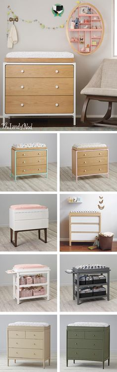 What's the must-have kids furniture for every nursery? The answer is a changing table! At The Land of Nod we have tons of versatile changing tables in modern designs and stylish colors. All of our nursery furniture is constructed from quality materials and made to last. Plus, each piece will grow with your child (removing the changing table topper will convert it into an instant dresser). Don't forget, a changing pad and changing pad cover will add the finishing touch.