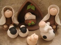 Nativity Set 8 piece, but with real clay. Polymer Clay Ornaments, Polymer Clay Figures, Fimo Clay, Polymer Clay Projects, Polymer Clay Creations, Clay Beads, Christmas Projects, Holiday Crafts, Clay Christmas Decorations
