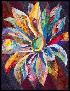 radiant sunflower quilt Now this is everything I love about quilting. It is notyour grandmothers quilt Crazy Quilting, Art Quilting, Quilt Art, Fiber Art Quilts, Quilting Projects, Quilting Designs, Sunflower Quilts, Sunflower Art, Landscape Art Quilts
