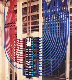 What's the Difference: Pex Tubing - Fine Homebuilding Water Plumbing, Pex Plumbing, Heating And Plumbing, Bathroom Plumbing, Bathroom Fixtures, Pole Barn House Plans, Pole Barn Homes, Mechanical Room, Plumbing Installation