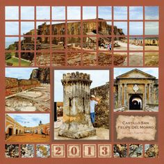 Love this Red-brown earth tone! This scrapbook page of Puerto Rico is amazing.