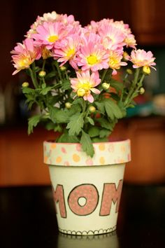 Hand Painted Mother's Day Flower Pot from @Consumer_Crafts via Niki at http://365daysofcrafts.com/