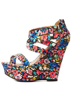 Printed Strappy Platform Wedge Sandals: Charlotte Russe