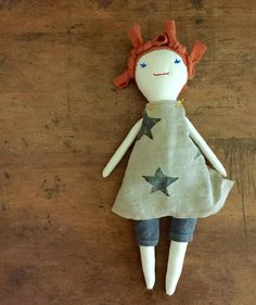 OOAK cloth rag doll with hand printed linen dress by TwinkleVT - perfect for a little back to school love..