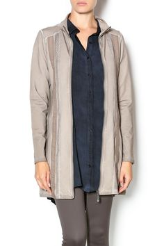 This long zip-up jacket has long sleeves, scoop pockets and bands of tonal trim running down the front and back. The washed taupe will go with anything and the fabric is soft andstretchy.   Zip Up Long Jacket by Yest. Clothing - Jackets, Coats & Blazers - Jackets California