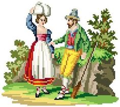 Damsel and hunter- Cross stitch pattern. Instant download PDF
