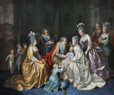 tiny-librarian:    The Royal family around Louis Joseph, Dauphin of France, in 1782.  Louis XVI and Marie Antoinette are in the centre with their son and Marie Therese Charlotte is touching her brother's foot. The Comte and Comtesse de Provence are to the left, with the Comtesse and Comte D'Artois on the right, along with Madame Elisabeth. Mesdames, Louis' Aunts, are on the left in the background and the children of the Comte and Comtesse D'Artois are just below them.