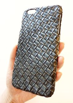 For Apple iPhone 6 Plus 5.5 Washed Black Leather Woven Phone Case by Yunikuna