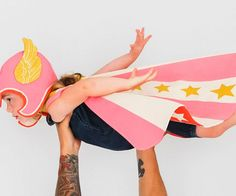Help your offspring on their quest for greatness with these children's superhero costumes. These handmade costumes include a heirloom quality winged cap and double sided cape that'll fit your little ones perfectly as their imaginations soar.
