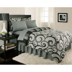 """Gray Swirl Stripe Contemporary Queen Comforter Set (8pc Bed in a Bag) by BG. $117.99. Queen set includes: 86"""" x 86"""" comforter, two 20"""" x 30"""" pillowcases, and two 20"""" x 26"""" shams. Polyester comforter fill. 200-thread count sheets. Charcoal and black swirls on a gray background. Fitted sheet fits mattresses up to 15"""" deep. This charcoal and black swirls on a gray background portray a completely contemporary look that is quite exhilarating. A 200 thread count bed in a bag set, it ..."""