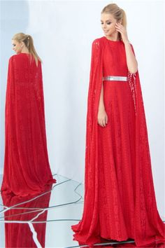 Adorable High Neck Long Red Lace Metal Belt Occasion Evening Dress With Cape#red#eveningdress#cape Prom Dresses 2018, Cheap Prom Dresses, Evening Dresses, Vintage Gothic, Cloaks, Metal Belt, Cape Dress, Red Lace, Modest Fashion