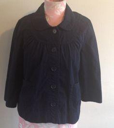 J. Crew Cotton Mod Peter Pan Collar Dark Navy Blue 3/4 Sleeve Jacket Blazer 6 #JCrew #BasicJacket