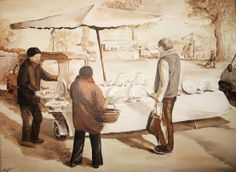 """""""Le marché - Riberac"""" 30cm x 30 cm acrylic sur toile SOLD"""