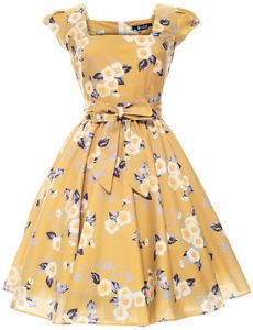 LADY VINTAGE 50s VTG Yellow Floral Swing Jive Dress Size 8-22 Rockabilly