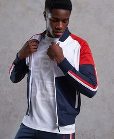 Shop Superdry Mens Tech Tricot Bomber Track Top in Rich Tricolore. Buy now with free delivery from the Official Superdry Store. African Men Fashion, Mens Fashion, Camisa Polo, Mens Activewear, Mens Sweatshirts, Gym Men, Active Wear, Menswear, Poses