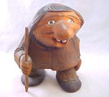 RARE VINTAGE 1979 Signed OTTO SVEEN NORWEGIAN CARVED WOOD TROLL WOODEN NORWAY