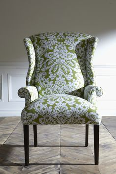 Green damask – like a walk in the garden. Freshen up a wing chair with an unexpected color